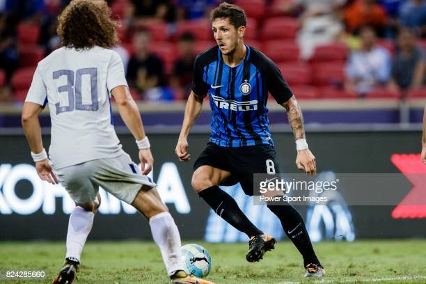 Internazionale Forward Stevan Jovetic plays against Chelsea Defender David Luiz during the International Champions Cup 2017 match between FC...