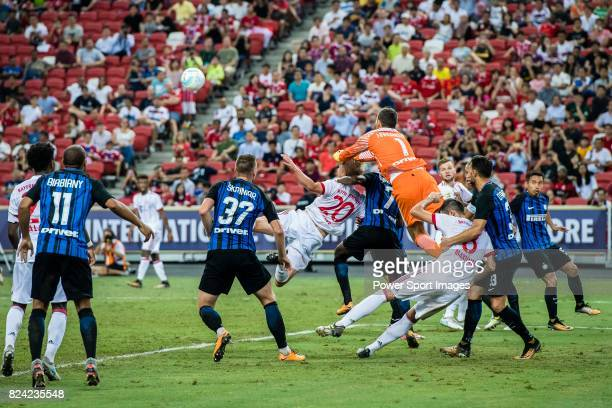 Internazionale Goalkeeper Samir Handanovic fights for the ball with Bayern Munich Defender Felix Gotze during the International Champions Cup match...