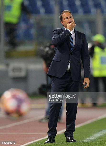 Internazionale head coach Frank De Boer whistles during the Serie A match between AS Roma and FC Internazionale at Stadio Olimpico on October 2 2016...