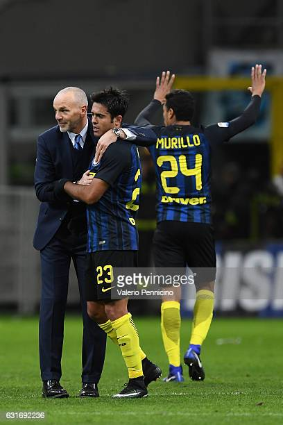 Internazionale head coach Stefano Pioli celebrates victory with Eder Citadin Martins at the end of the Serie A match between FC Internazionale and AC...
