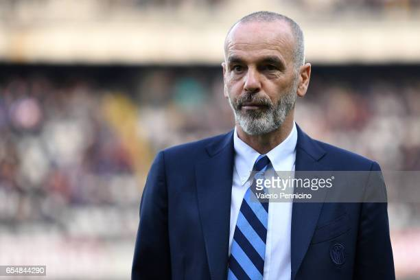 Internazionale head coach Stefano Pioli looks on prior to the Serie A match between FC Torino and FC Internazionale at Stadio Olimpico di Torino on...