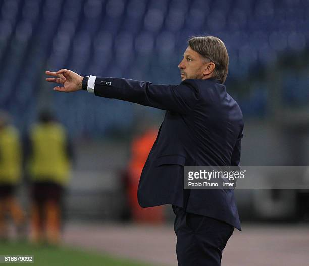 Internazionale head coach Stefano Vecchi gestures during the Primavera Supercup final match between AS Roma and FC Internazionale at Olimpico Stadium...