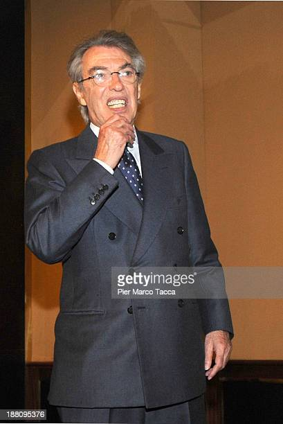 Internazionale honorary president Massimo Moratti attends a press conference after the FC Internazionale Milano shareholders' meeting on November 15...