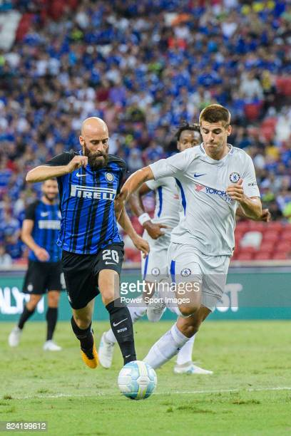 Internazionale Midfielder Borja Valero fights for the ball with Chelsea Forward Alvaro Morata during the International Champions Cup 2017 match...