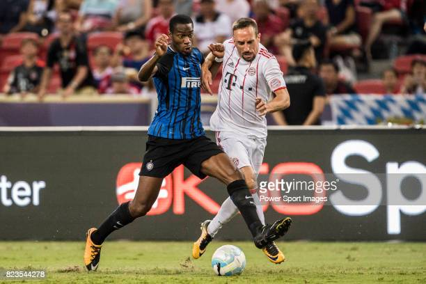 Internazionale Midfielder Geoffrey Kondogbia fights for the ball with Bayern Munich Midfielder Franck Ribery during the International Champions Cup...