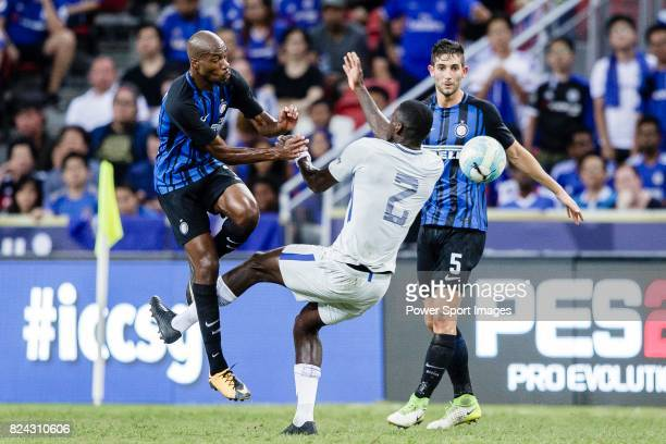 Internazionale Midfielder Geoffrey Kondogbia fights for the ball with Chelsea Defender Antonio Rudiger during the International Champions Cup 2017...