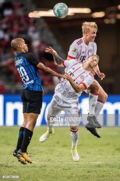 Internazionale Midfielder Joao Mario fights for the ball with Bayern Munich Midfielder Niklas Dorsch during the International Champions Cup match...