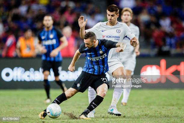Internazionale Midfielder Marcelo Brozovic fights for the ball with Chelsea Forward Alvaro Morata during the International Champions Cup 2017 match...