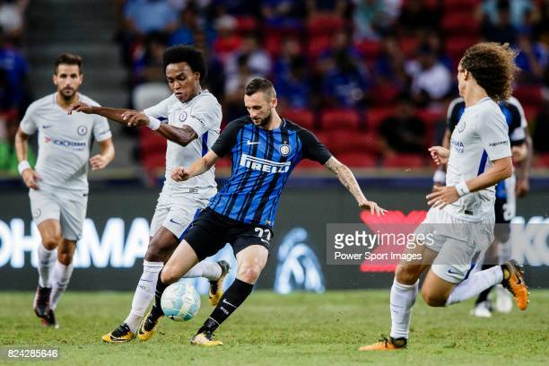 Internazionale Midfielder Marcelo Brozovic fights for the ball with Chelsea Midfielder Willian da Silva during the International Champions Cup 2017...