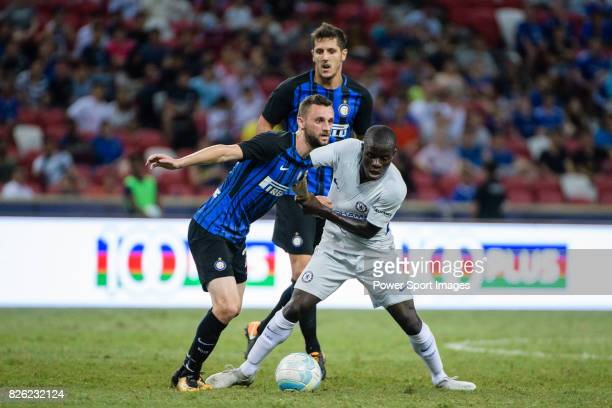 Internazionale Midfielder Marcelo Brozovic fights for the ball with Chelsea Midfielder N'Golo Kante during the International Champions Cup 2017 match...