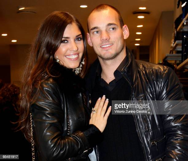 Internazionale Milan midfielder Wesley Sneijder and his girlfriend Yolanthe Cabau Van Kasbergen attend the FC Internazionale Milan Cocktail Party on...