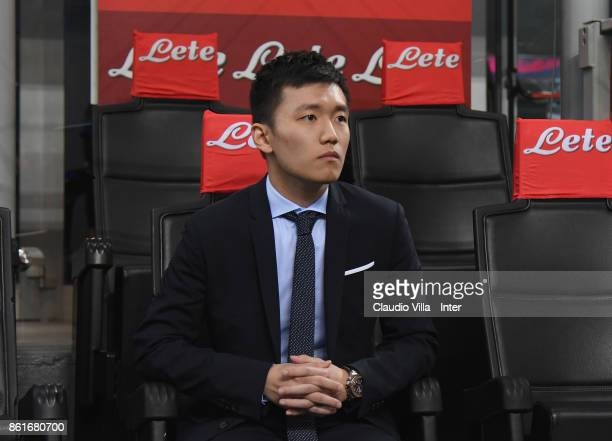 Internazionale Milano board member Steven Zhang attends before the Serie A match between FC Internazionale and AC Milan at Stadio Giuseppe Meazza on...