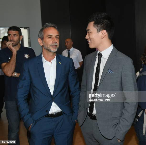 Internazionale Milano board member Steven Zhang Kangyang and Technogym Managing Director Cristian Ferrarese chat at Suning Jiangsu Training Center on...