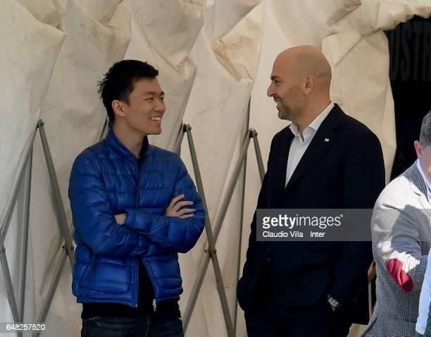 Internazionale Milano board member Steven Zhang Kangyang and President Cagliari Calcio Tommaso Edoardo Giulini chat prior to the Serie A match...
