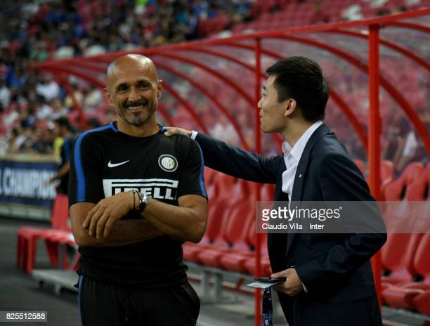 Internazionale Milano board member Steven Zhang Kangyang and Head coach FC Internazionale Luciano Spalletti chat prior to the International Champions...
