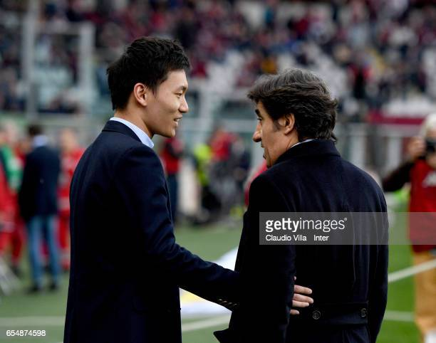 Internazionale Milano board member Steven Zhang Kangyang and President of FC Torino Urbano Cairo chat prior to the Serie A match between FC Torino...