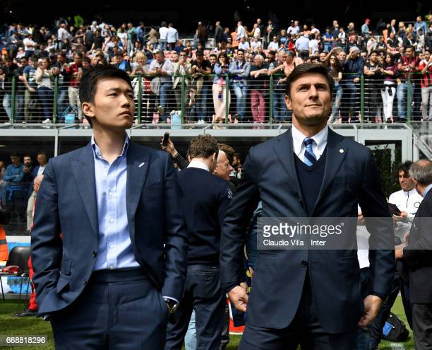 Internazionale Milano board member Steven Zhang Kangyang and Vice President of FC Internazionale Milano Javier Zanetti look on prior to the Serie A...