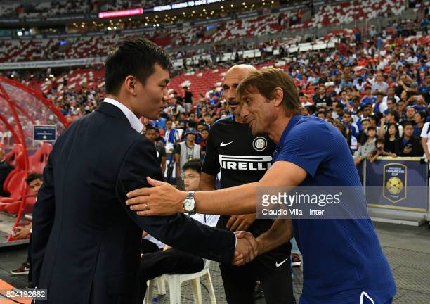 FC Internazionale Milano board member Steven Zhang Kangyang Head coach FC Internazionale Luciano Spalletti and Head coach Chelsea Antonio Conte chat...