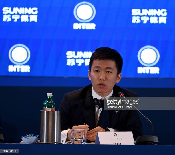 Internazionale Milano board member Steven Zhang Kangyang looks on during the FC Internazionale Milano Shareholders' Meeting at Palazzo Parigi on...