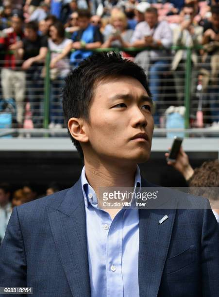 Internazionale Milano board member Steven Zhang Kangyang looks on prior to the Serie A match between FC Internazionale and AC Milan at Stadio...