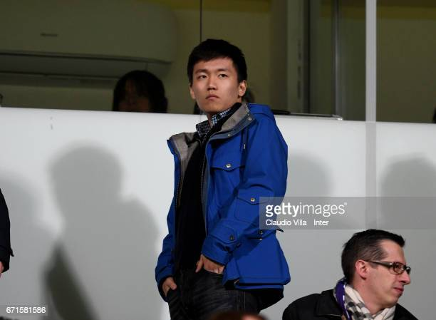 Internazionale Milano board member Steven Zhang Kangyang looks on prior to the Serie A match between ACF Fiorentina v FC Internazionale at Stadio...