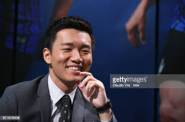 Internazionale Milano board member Steven Zhang Kangyang speaks with the media during a press conference at Suning Jiangsu Training Center on July 22...
