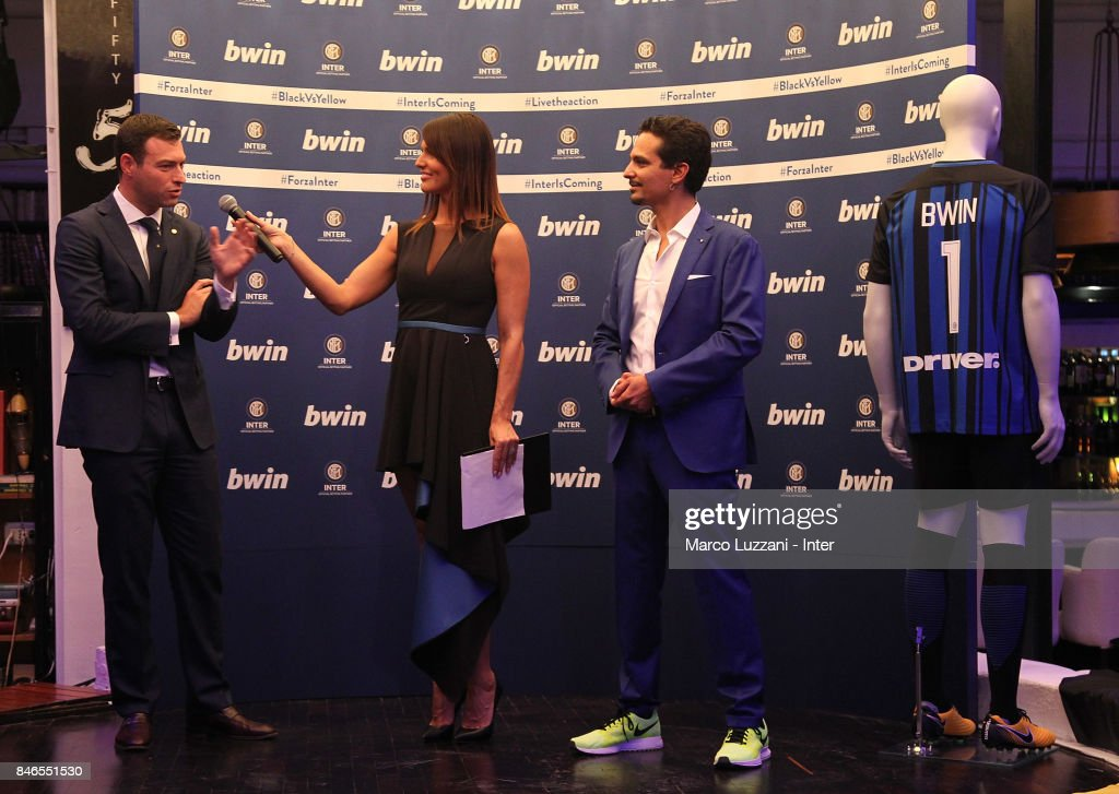 FC Internazionale Milano Chief Revenue Officer Michael Gandler, Barbara Pedrotti and bwin Country Lead Moreno Marasco attend BWin event on September 13, 2017 in Milan, Italy.