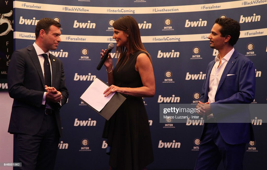 FC Internazionale Milano Chief Revenue Officer Michael Gandler, Barbara Pedrotti and bwin Country Lead Moreno Marasco and Barbara Pedrotti attend BWin event on September 13, 2017 in Milan, Italy.