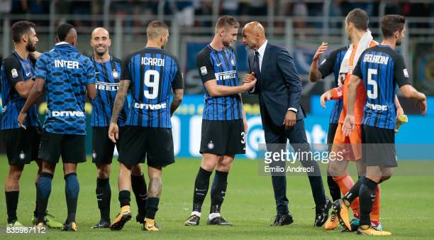 Internazionale Milano coach Luciano Spalletti celebrates the victory with Milan Skriniar at the end of the Serie A match between FC Internazionale...