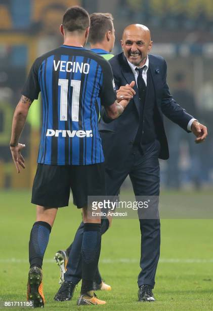 Internazionale Milano coach Luciano Spalletti celebrates the victory with Matias Vecino at the end of the Serie A match between FC Internazionale and...