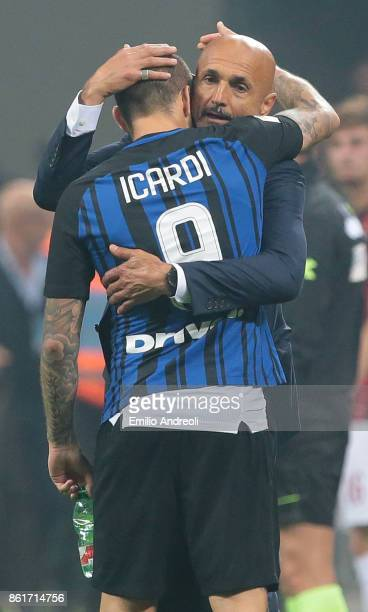 Internazionale Milano coach Luciano Spalletti celebrates the victory with Mauro Emanuel Icardi at the end of the Serie A match between FC...