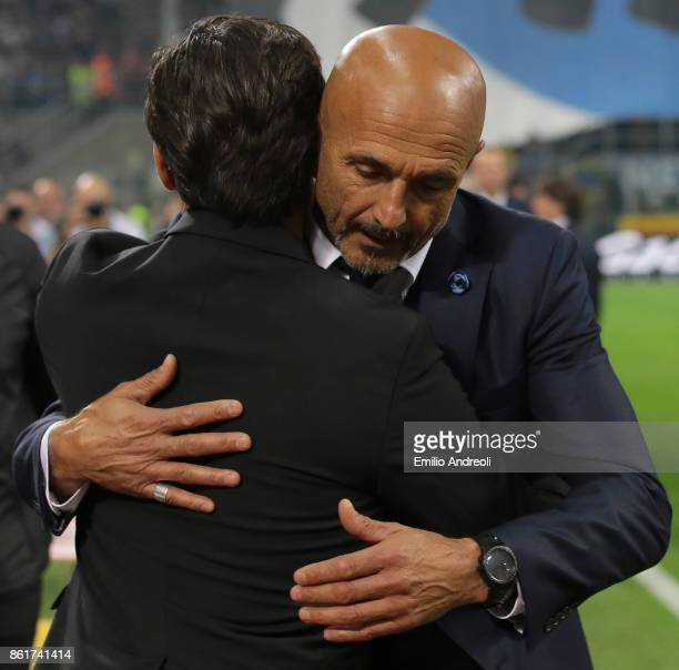 Internazionale Milano coach Luciano Spalletti embraces AC Milan coach Vincenzo Montella prior to the Serie A match between FC Internazionale and AC...