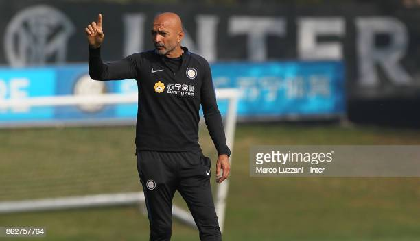 Internazionale Milano coach Luciano Spalletti gestures during the FC Internazionale training session at the club's training ground Suning Training...
