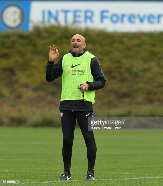 Internazionale Milano coach Luciano Spalletti gestures during the FC Internazionale training session at the club's training ground 'La Pinetina' on...