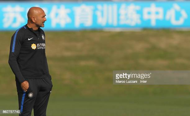 Internazionale Milano coach Luciano Spalletti looks on during the FC Internazionale training session at the club's training ground Suning Training...