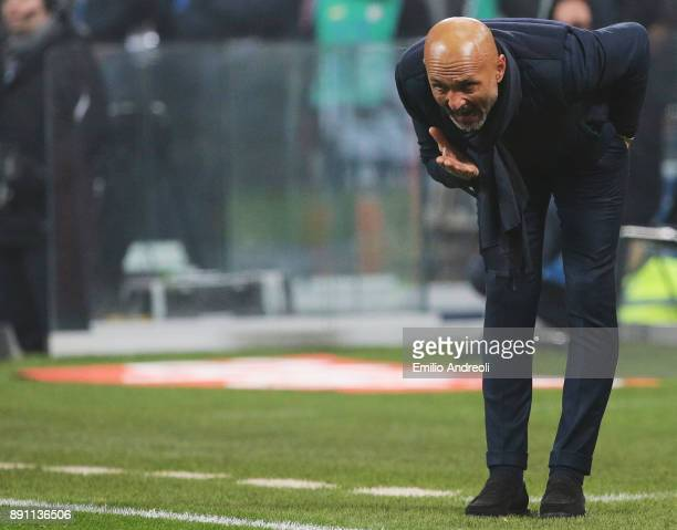 Internazionale Milano coach Luciano Spalletti reacts during the TIM Cup match between FC Internazionale and Pordenone at Stadio Giuseppe Meazza on...
