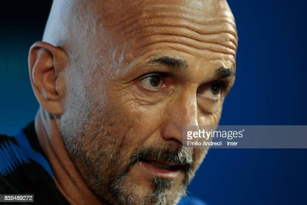 Internazionale Milano coach Luciano Spalletti speaks to the media during a press conference at the Suning training center in memory of Angelo Moratti...