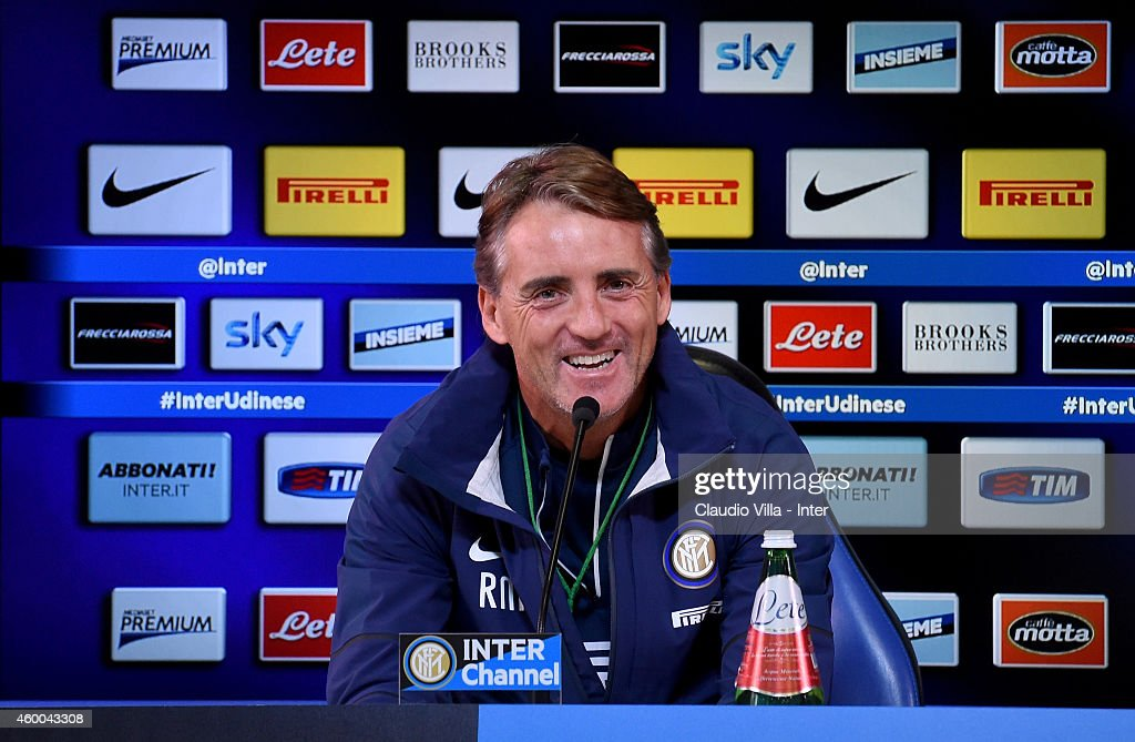 FC Internazionale Milano coach <a gi-track='captionPersonalityLinkClicked' href=/galleries/search?phrase=Roberto+Mancini&family=editorial&specificpeople=234429 ng-click='$event.stopPropagation()'>Roberto Mancini</a> speaks to the media during a press conference at Appiano Gentile on December 06, 2014 in Como, Italy.