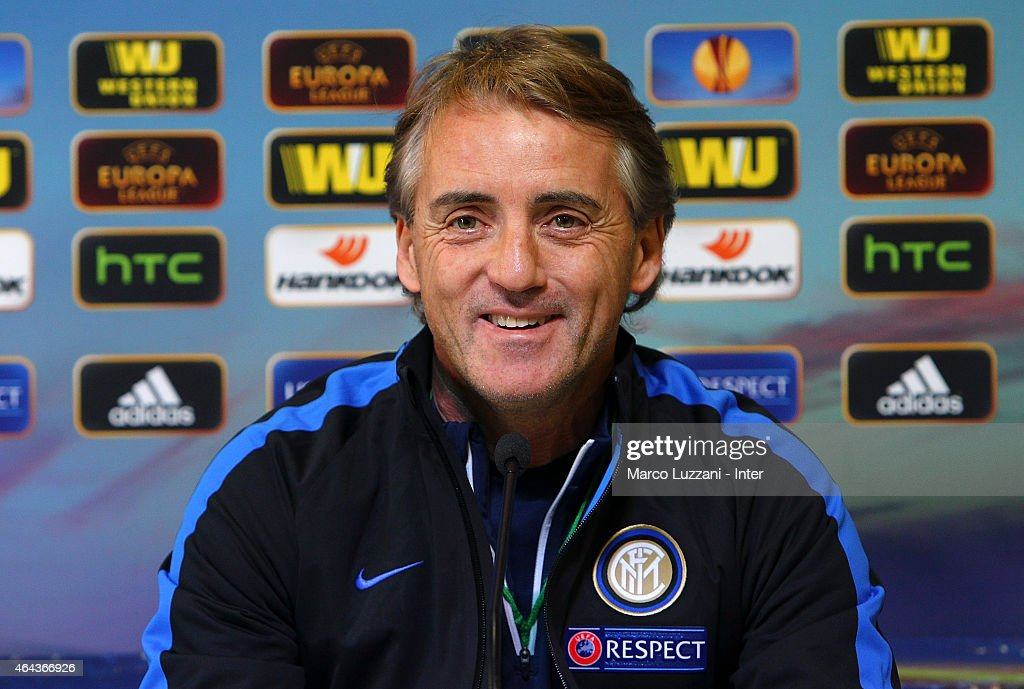 FC Internazionale Milano coach Roberto Mancini speaks to the media during a press conference at the club's training ground on February 25, 2015 in Appiano Gentile Como, Italy.