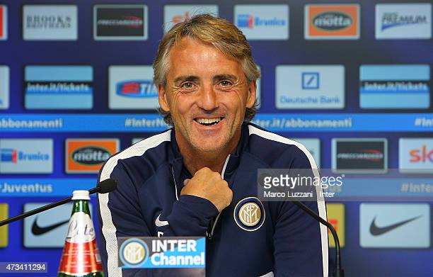 Internazionale Milano coach Roberto Mancini speaks to the media during a press conference at the club's training ground on May 15 2015 in Appiano...