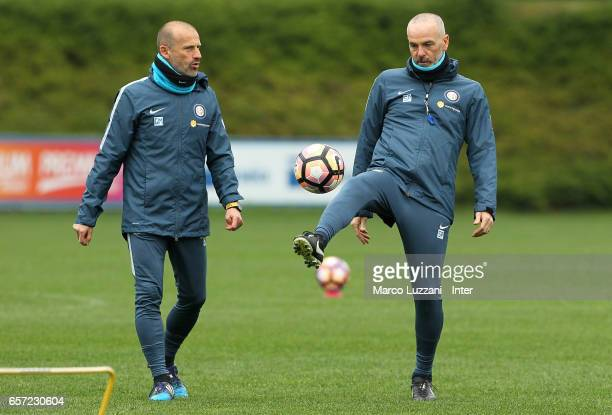 Internazionale Milano coach Stefano Pioli controls the ball during the FC Internazionale training session at the club's training ground Suning...