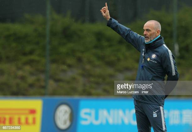 Internazionale Milano coach Stefano Pioli gestures during the FC Internazionale training session at the club's training ground Suning Training Center...