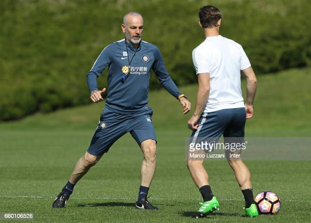 Internazionale Milano coach Stefano Pioli in action during the FC Internazionale training session at the club's training ground Suning Training...
