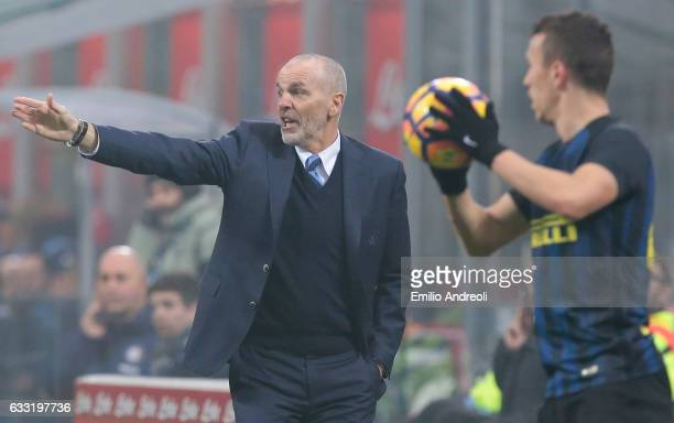 Internazionale Milano coach Stefano Pioli issues instructions to his players during the TIM Cup match between FC Internazionale and SS Lazio at...