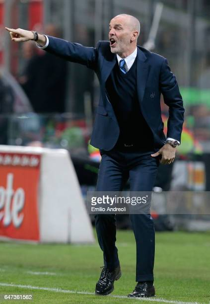 Internazionale Milano coach Stefano Pioli issues instructions to his players during the Serie A match between FC Internazionale and AS Roma at Stadio...