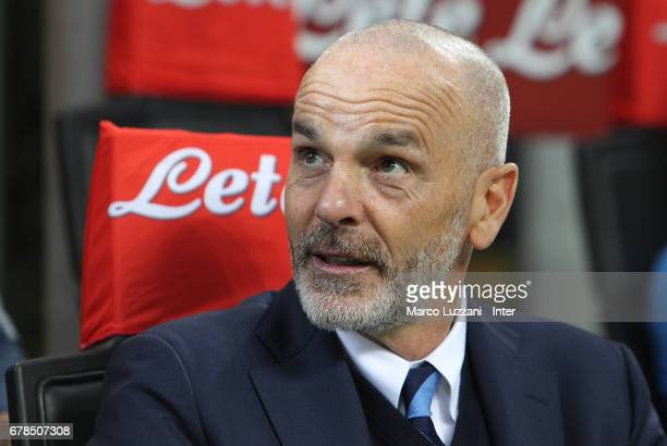 Internazionale Milano coach Stefano Pioli looks on before during the Serie A match between FC Internazionale and SSC Napoli at Stadio Giuseppe Meazza...