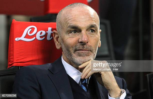 Internazionale Milano coach Stefano Pioli looks on before the Serie A match between FC Internazionale and ACF Fiorentina at Stadio Giuseppe Meazza on...