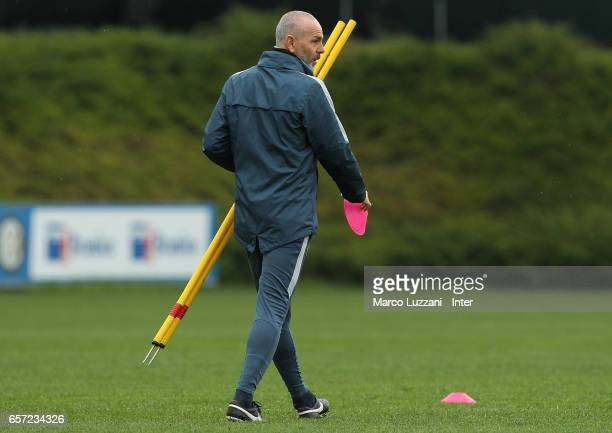 Internazionale Milano coach Stefano Pioli looks on during the FC Internazionale training session at the club's training ground Suning Training Center...