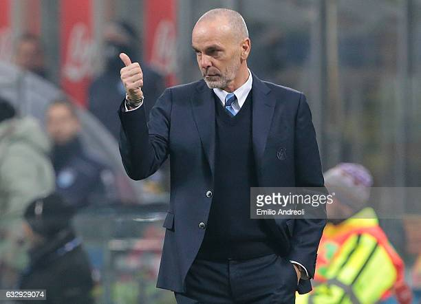 Internazionale Milano coach Stefano Pioli reacts during the Serie A match between FC Internazionale and Pescara Calcio at Stadio Giuseppe Meazza on...