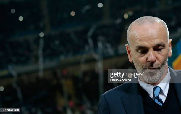 Internazionale Milano coach Stefano Pioli reacts during the Serie A match between FC Internazionale and AS Roma at Stadio Giuseppe Meazza on February...